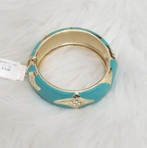 NY & Co. Turquoise & Gold Rhinestone Cuff/ Bangle